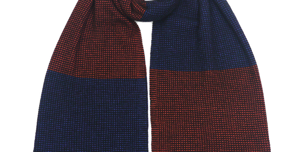 Swona Cashmere and silk Scarf   Black/Blue/Orange