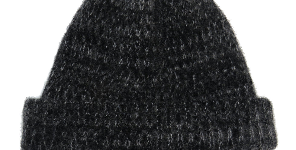 Pure Cashmere Beanie Hat ~ Black / Grey marl