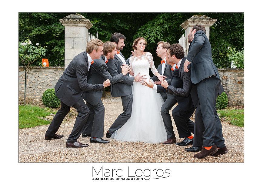 Mariée avec les témoins du marié .