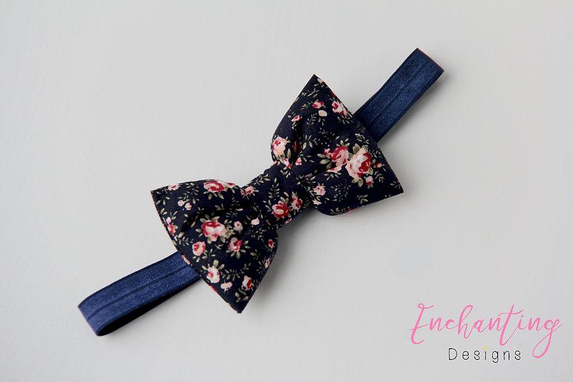 Navy Floral Bow Headband