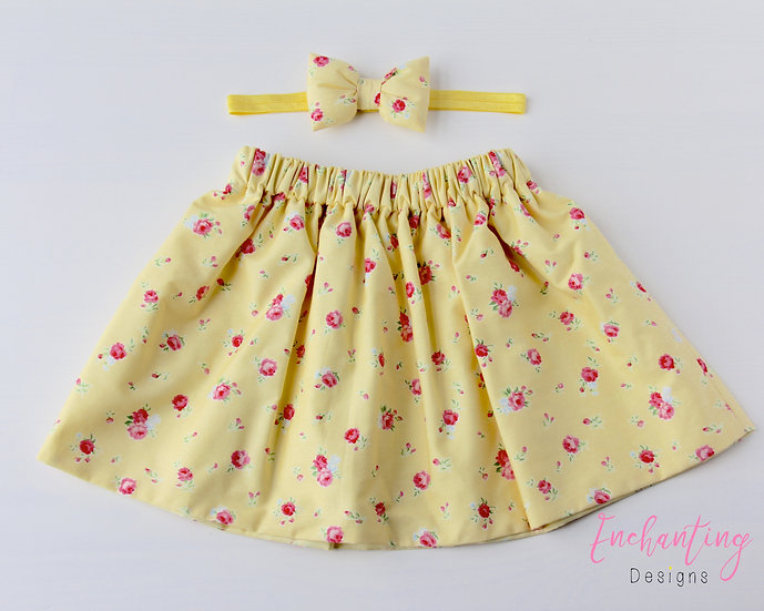 Yellow York Rose Skirt Set