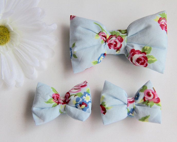 Blue Rose Bow Clips
