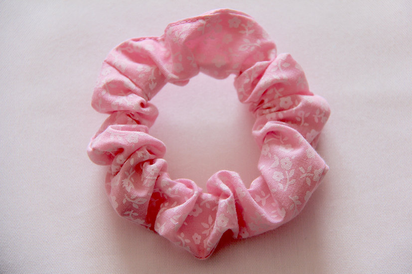 Pink Pansy Scrunchie