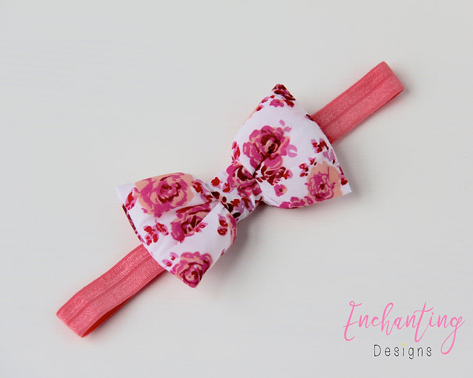 Cerise Rose Bow Headband