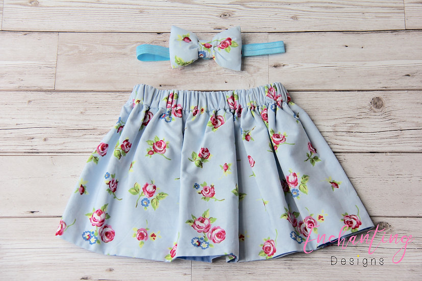Blue Rose Skirt Set