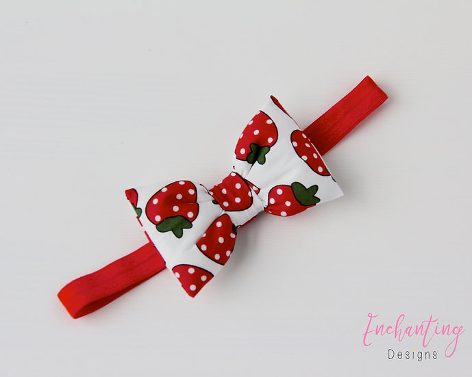 Strawberry Bow Headband