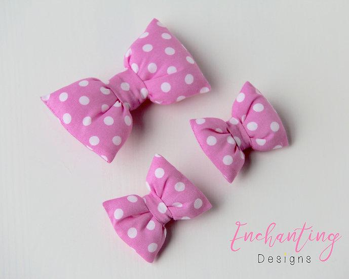 Pink Polkadot Bow Clips