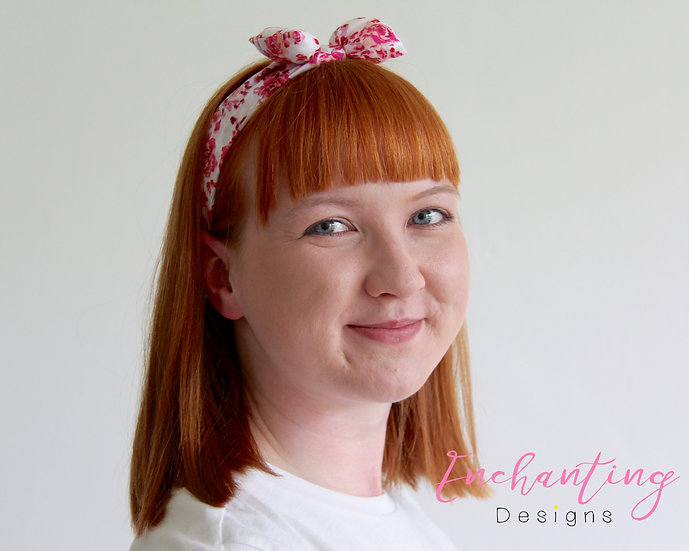Cerise Rose Retro Headband