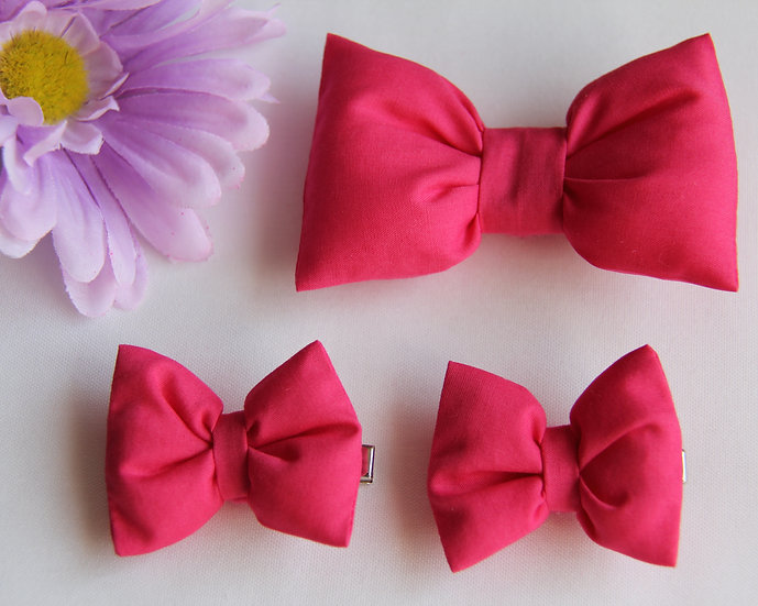 Hot Pink Bow Clips