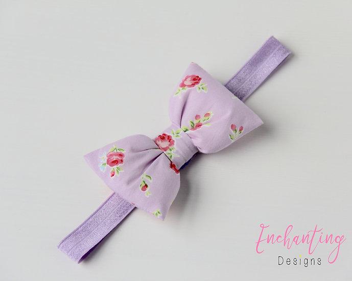 Lilac York Rose Bow Headband