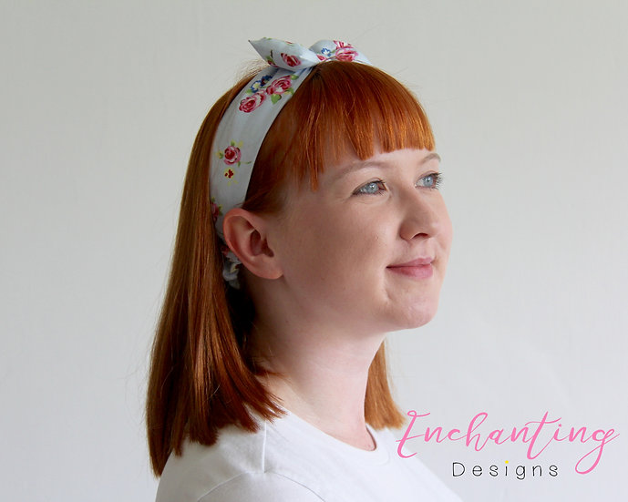 Blue Rose Retro Headband