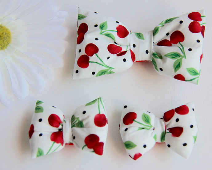 Cherry Bow Clips