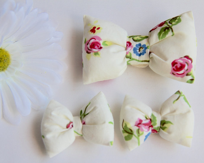 Cream Rose Bow Clips