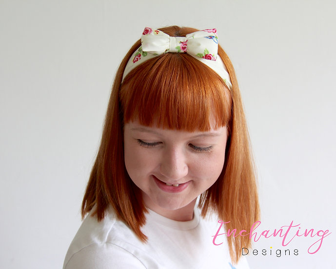 Cream Rose Headband