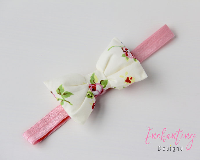 Pink Rose Bow Headband