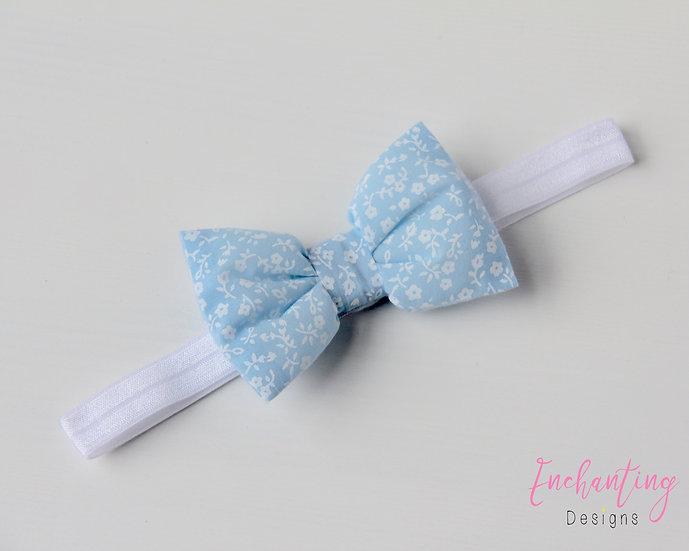 Blue Pansy Bow Headband