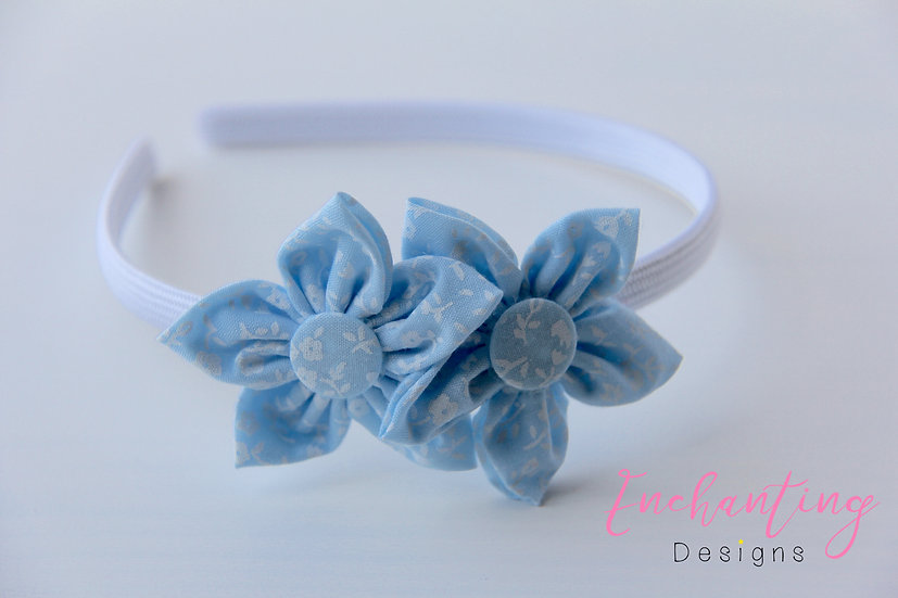 Blue Pansy Flower Alice Band