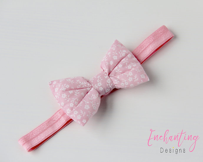 Pink Pansy Bow Headband
