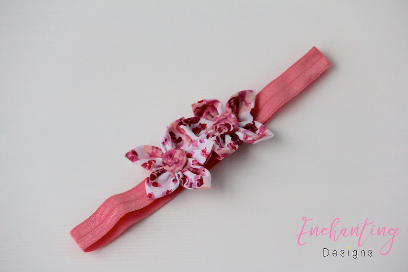 Cerise Rose Flower Headband