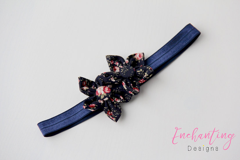 Navy Floral Flower Headband