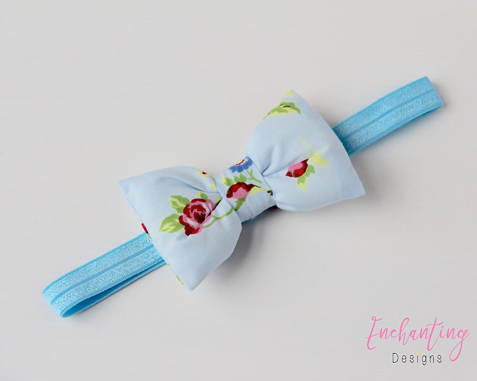 Blue Rose Bow Headband