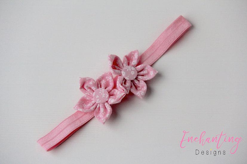 Pink Pansy Flower Headband