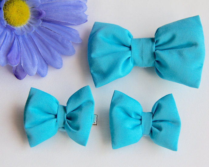 Turquoise Bow Clips