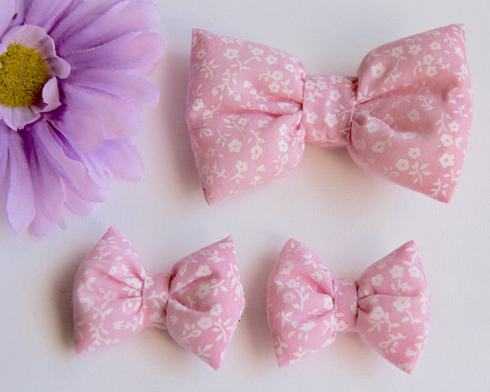 Pink Pansy Bow Clips
