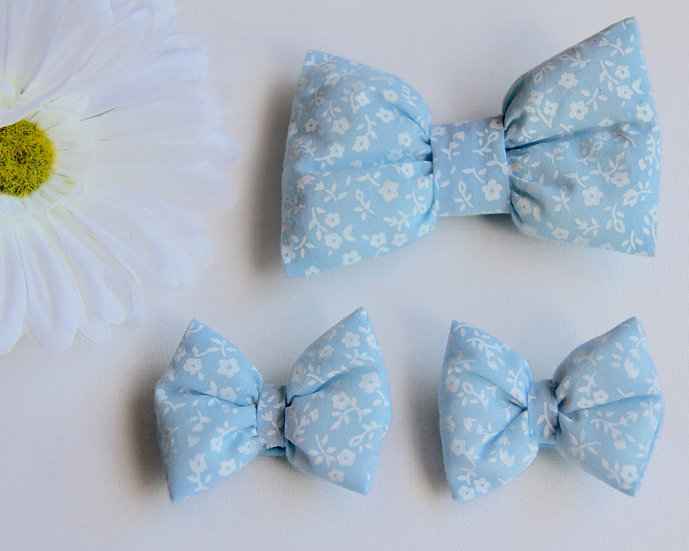 Blue Pansy Bow Clips