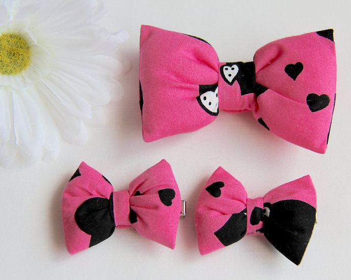 Pink Heart Bow Clips