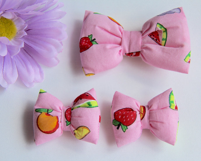 Pink Fruit Bow Clips