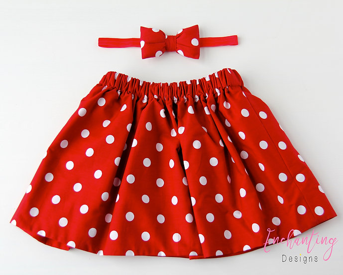 Red Polkadot Skirt Set