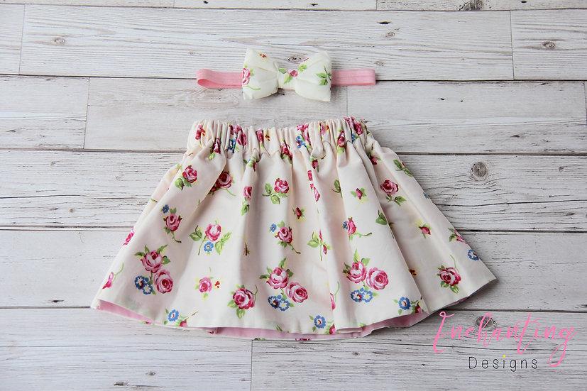 Cream Rose Skirt Set