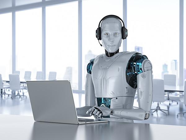 robot using a laptop