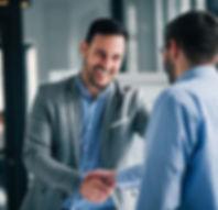 happy man shaking hands