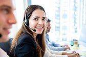 female call center agent wearing a headset