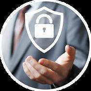 padlock and data security badge