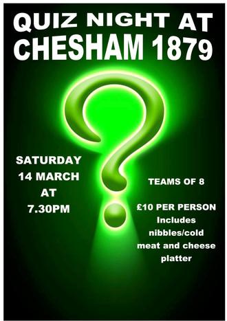 Quiz Night at Chesham 1879 Saturday 14th March 7.30pm