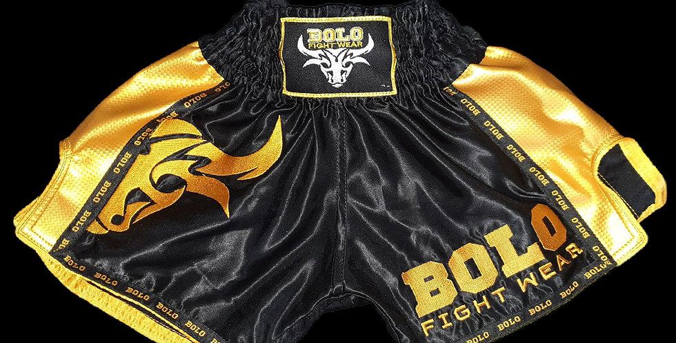 Bolo - Black/Gold Retro Muay Thai Shorts