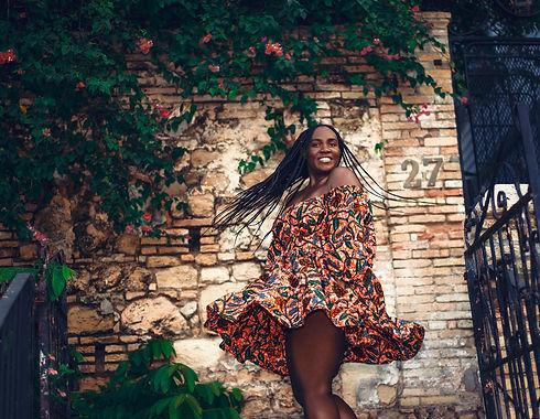 black girl twirling, black girl magic, brown skin girl, lemonade braids, beyonce braids, formation, ankara, grassfields dress, caribbean writer