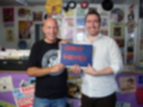 Steve Sullivan, director of the Frank Sidebottom documentary, with Freshies super-fan Paul Taylor at Static Records in Wigan