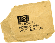 A scrap of paper from the Chris Sievey/Frank Sidebottom archives showing the 11:37 logo and the address PO Box 11, Altrincham WA15 6UN UK