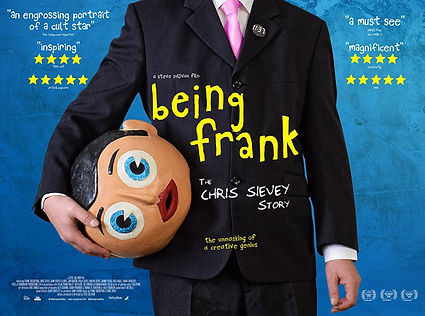 """Movie poster for """"Being Frank: The Chris Sievey Story"""" about the life of Chris Sievey and Frank Sidebottom"""