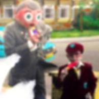 Frank and Roger 'The Boy Next Door' Gregory enjoy 10p ice lollies. November 1985.