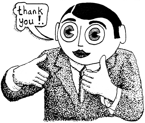 "Frank Sidebottom cartoon saying ""Thank you!"""