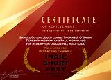 Indie Short Fest Certificate Of Achievement Nominee Best Acting Ensemble Samuel Difiore  Lulu Lopez Thomas J. O'Brien Paul Mormondo Tereza Hakobyan  Redemption On Gun Hill Road shortfilm