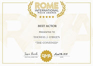Rome International Movie Awards Best Actor Thomas J. O'Brien The Confined shortfilm