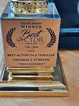 NY Best Actors trophy engraved Thomas J.