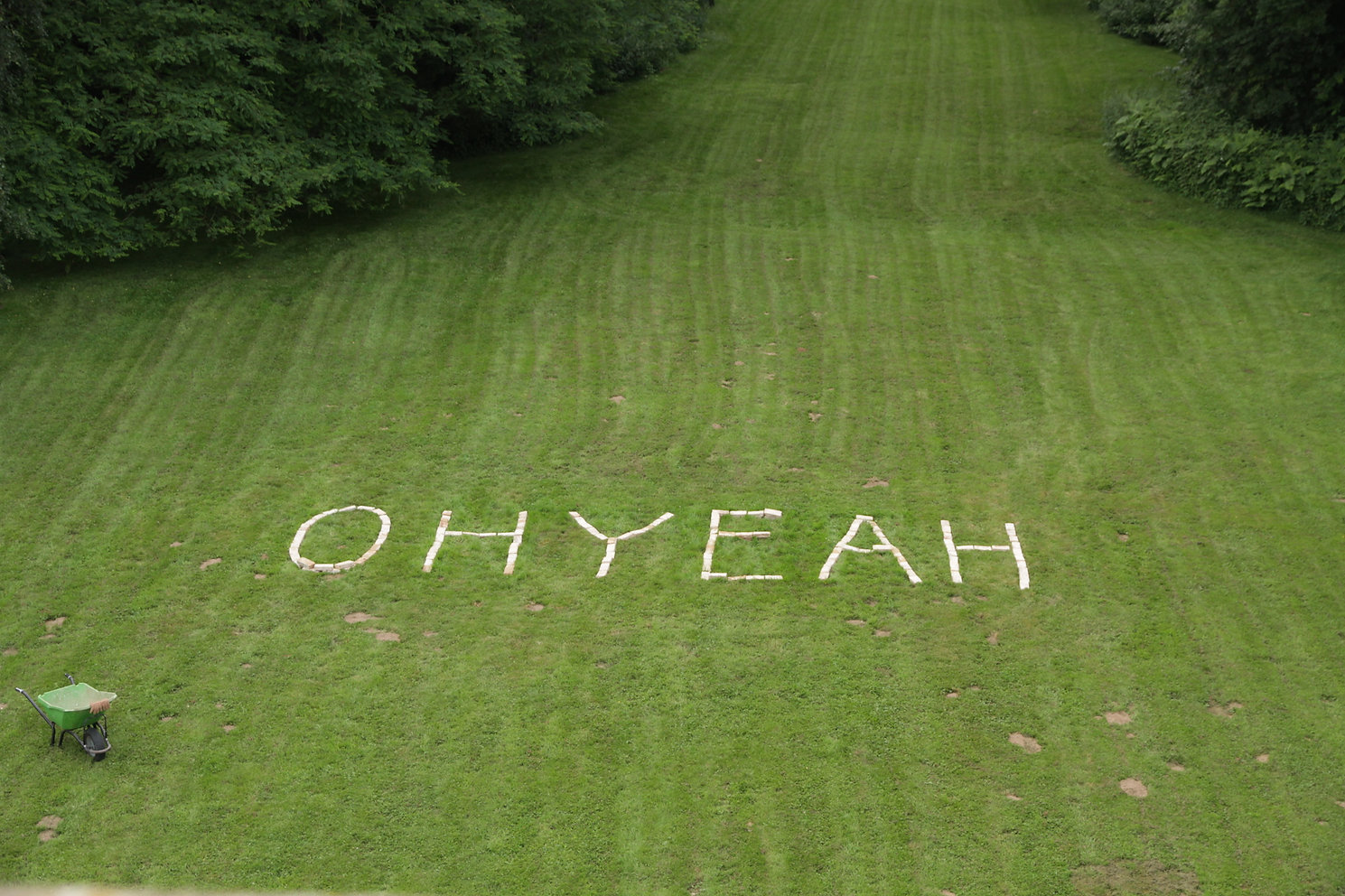 ohyeah sign on grass_residency_pompadour