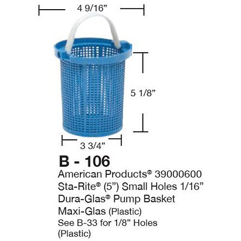 """B-106 Basket fits starite maxiglass 5"""""""